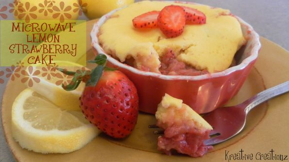Microwave Lemon Strawberry Cake - The Kreative Life