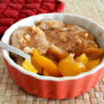 A 3-Minute microwave peach cobbler dessert can be made in a snap! Just a few ingredients and you'll have a peach cobbler made for two. You can also have a single serve peach cobbler in a mug. - The Kreative Life