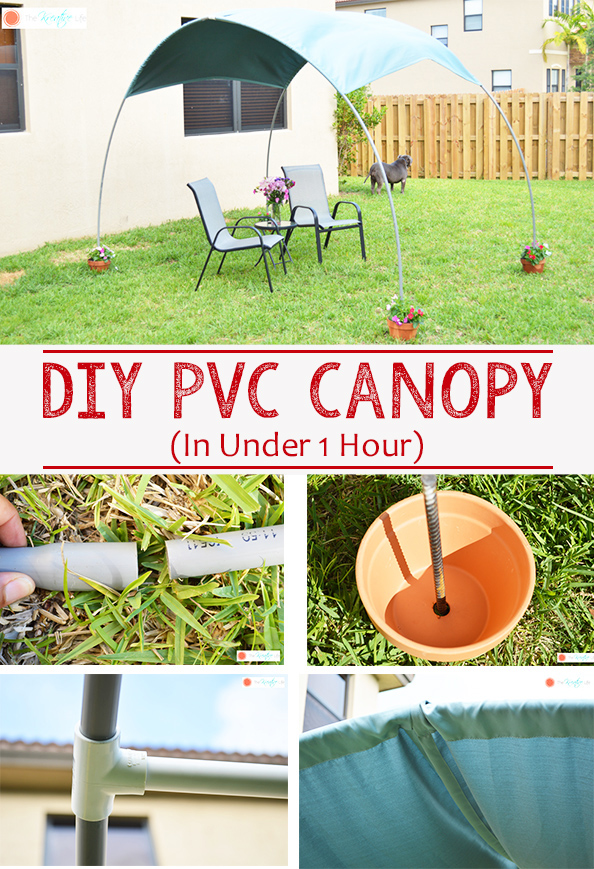 A simple diy pvc canopy for your backyard that can be made in under 1 hour and with only a few supplies. This diy pvc pipe sunshade adds a little backyard shade for your family's enjoyment when you're learning how to shade your backyard. - The Kreative Life