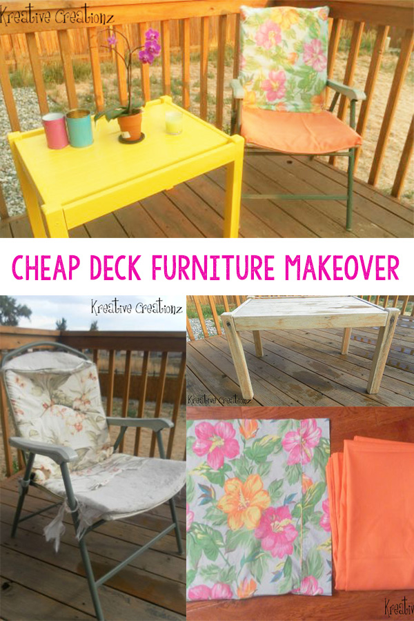 Thrifted furniture gives us a cheap deck furniture makeover set that was affordable and fashionable. The colors from this diy outdoor furniture makeover really gives this set a little pizzaz! - The Kreative Life